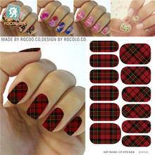 KG012A Water Transfer Foils Nail Art Sticker Scarlet And Black Plaid Design Manicure Decals Minx Nail Decorations Patch Cheap