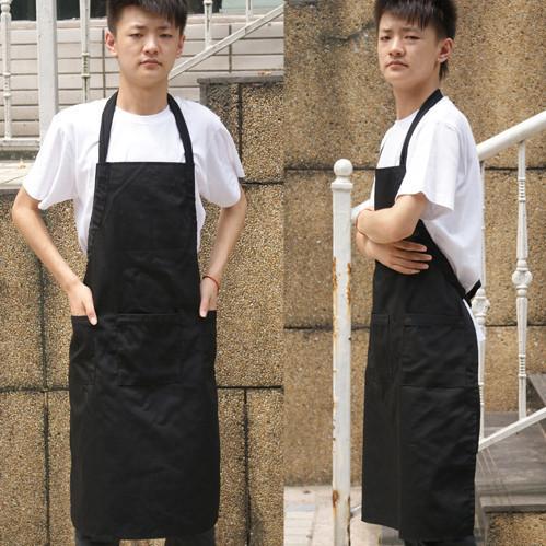 Wholesale 6 PCS Adult Men Adjustable Collar Belt Canvas Cotton Working Kitchen Cooking Long Aprons Pinafore Black Color(China (Mainland))