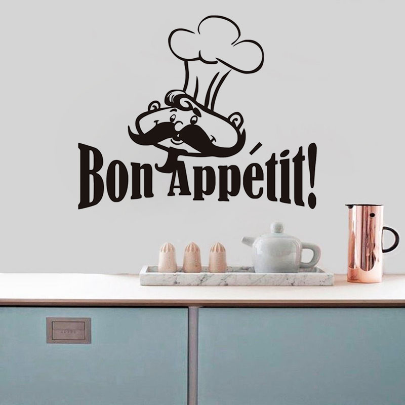Bon Appetit Funny Cooker French Quotes Food Wall Stickers Living Room Dining Room Restaurants Kitchen Home Decoration Wallpaper(China (Mainland))