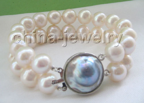 2row 8 12mm white round freshwater pearl bracelet-925 silver blister pearl@^Noble style Natural Fine jewe FREE SHIPPING<br><br>Aliexpress
