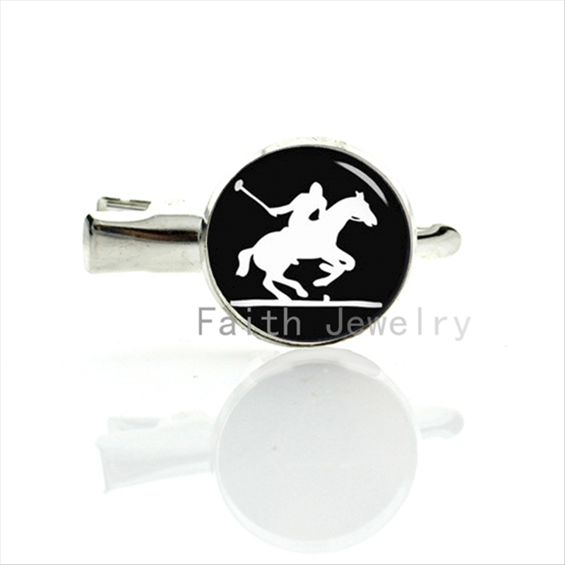 Trendy British Polo Sport hairpin vintage black white style Horse Polo Player art silhouette hair clip sports lovers gift T283(China (Mainland))