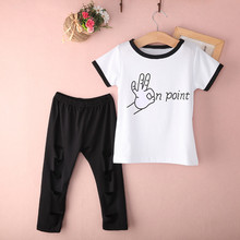 Baby Girl Kids Letter Printed Outfits 2016 Summer Style Children Cute Cotton Short Sleeve T-shirt Hollow Out Pants Clothes Set(China (Mainland))