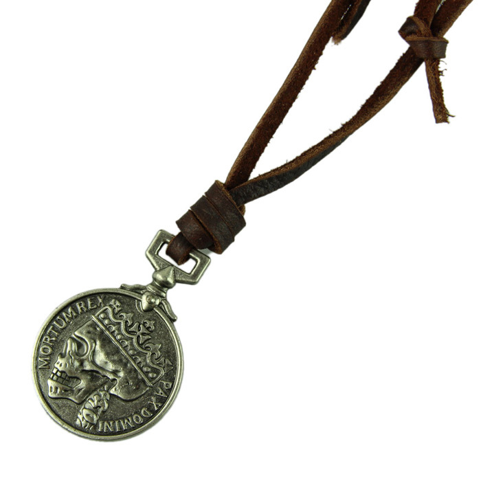 Fantastic Jewelry Necklace Cow Leather Men Necklace Punk Retro skull Skeleton Pendants Necklace Long Chain Lovers
