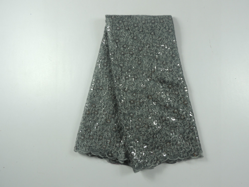 2015 Latest Material Grey + sequins Guipure Cord Lace /Nigeria French Chemical Lace Fabric Swiss Voile Lace High Quality(China (Mainland))