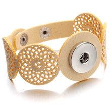 Gorąca Snap bransoletki i Bangles najnowszy styl w stylu Vintage koraliki skórzane bransoletki FIt 18/20 MM zatrzaski przycisk biżuteryjny ZE407(China)