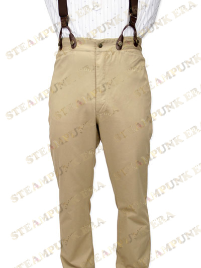 Popular Khaki Cotton Fabrics Mens Steampunk Trouser