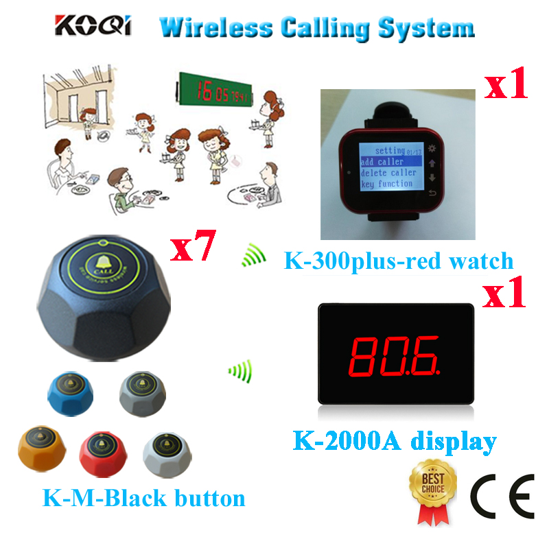Wireless Call Bell System Display Of Show 3-digit Number Watch Pager Caller Bells Free Shipping(1 display+1 watch+7 call button)(China (Mainland))