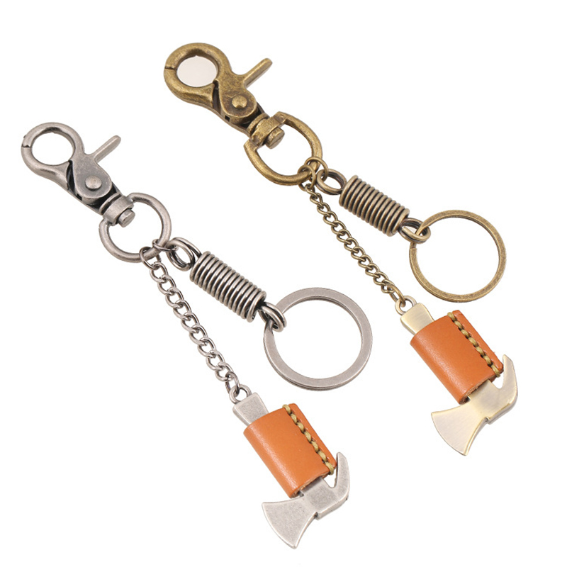 1pcs 100% Handmade Fashion Creative Gift Car Key Ring Bronze Hammer Retro Punk Leather Keychain Pendant Ms. backpack Wholesale