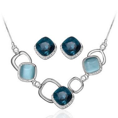 Fashion Sweet OL Joker Solid Geometry Pedant Necklace Jewel Box Set Jewelry Choker Collar Brincos(China (Mainland))