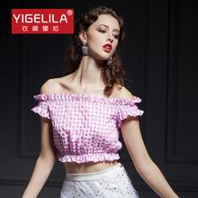 YIGELILA 7203 Pink Plaid Cute Slash Neck Off Shoulder Crop Top For Women Ruffles Hem Free Shipping(China (Mainland))