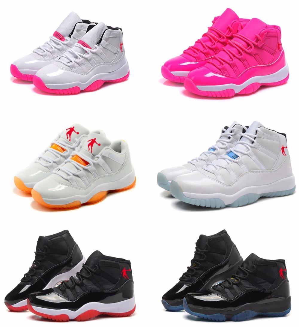 Free shipping 2015 top quality cheap china jordan 11 retro women white basketball shoes,original sneakers size 5.5-8.5(China (Mainland))