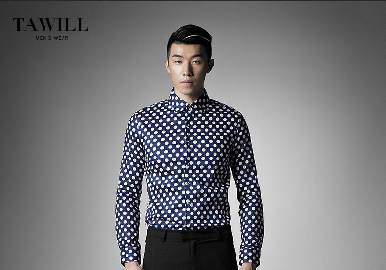 2015 spring new Korean Slim Men's long-sleeved shirt male fashion tidal wave point men's cotton shirt