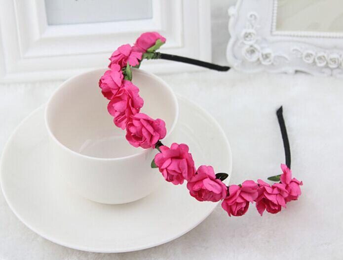 Handmade Women Girls Bride Fashion Paper floral headband flower hair garland festival wedding accessories - Jianing Body Jewelry's store