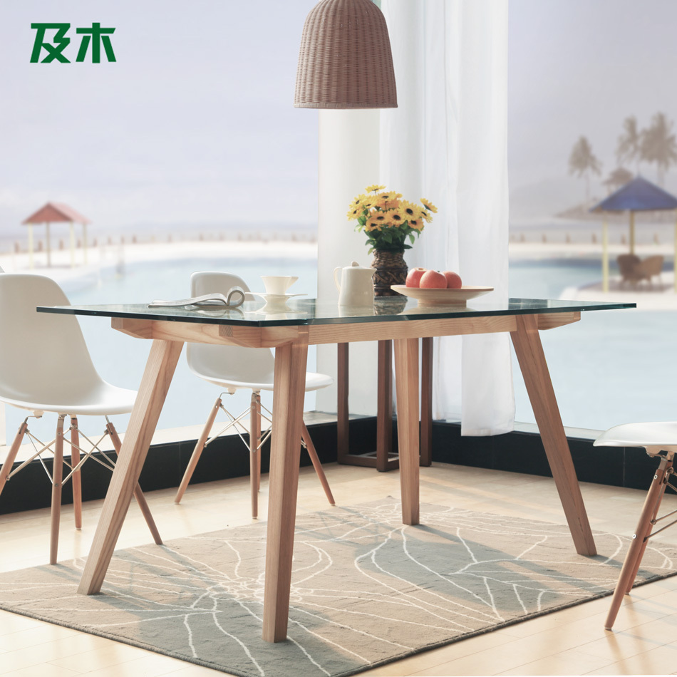 And wood furniture modern minimalist Nordic rectangular glass dining table solid wood dining table CZ007A Creative(China (Mainland))