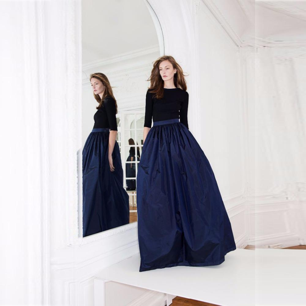 navy blue skirt a line floor length maxi skirt custom