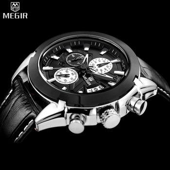 MEGIR Chronograph Casual Watch Men Luxury Brand Quartz Military Sport Watch Genuine Leather Men's Wristwatch relogio masculino