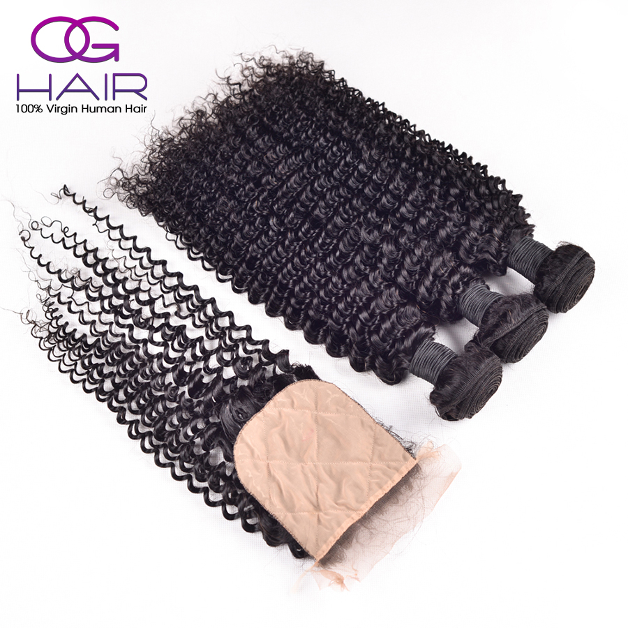 Cheap Silk Base Closure with Kinky Curly Virgin Hair Malaysian Virgin Human Hair Kinky Curly Silk Base Closure with 3 Bundles<br><br>Aliexpress