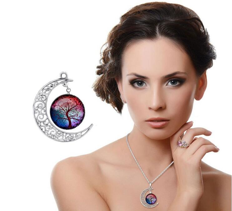 Red Women Fashion Glass Moon Statement Necklace Vintage Silver Color Jewelry Life Tree Art Picture Pendant Necklace Women gift(China (Mainland))