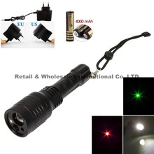 White LED Flashlight + Green Laser Light+Red Laser 3 x LED Light Zoomable LED Flashlight Torch lamp+Battery/Charger(China (Mainland))