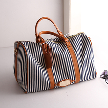Portable canvas women luggage travel bags striped duffle female travelling bag men's travel bag women fitness sport bags TB00064(China (Mainland))