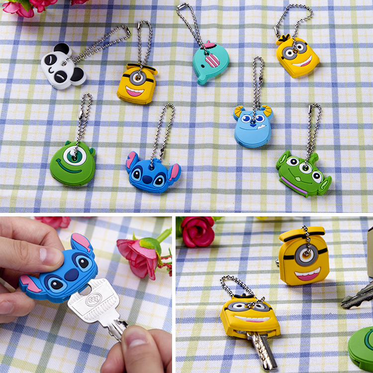 2015*Kawaii Cartoon Animal Silicone Key Caps Head Covers Keys Keychain Case Novelty Topper Keyring Phone Strap*hot(China (Mainland))