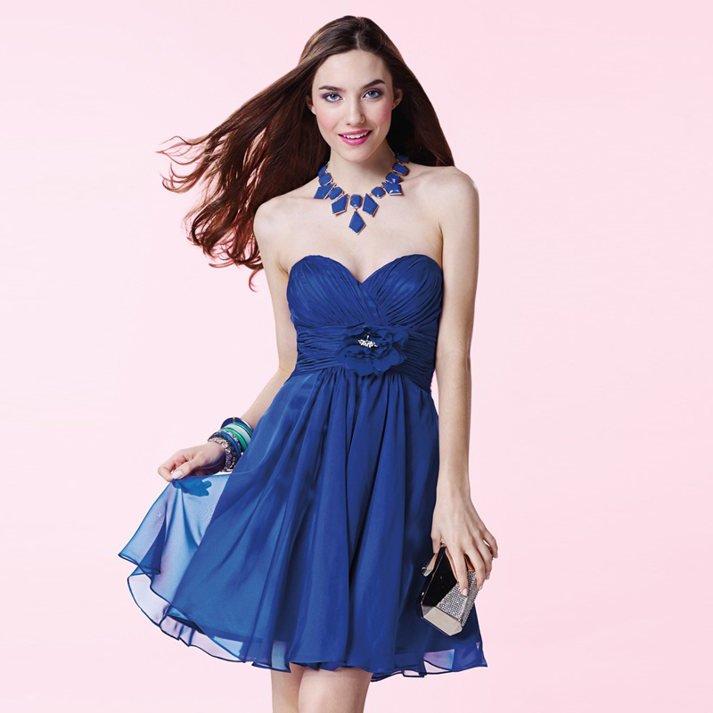 Chiffon Royal Blue Plus Size A-Line Custom Made Sweetheart Off the Shoulder Hot Selling Cheap Homecoming Dresses Short Pleat(China (Mainland))