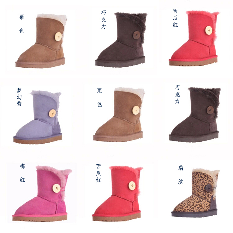 genuine leather fur snow boots children shoes 2015 boys and girls slip waterproof warm winter shoes 24-34size(China (Mainland))