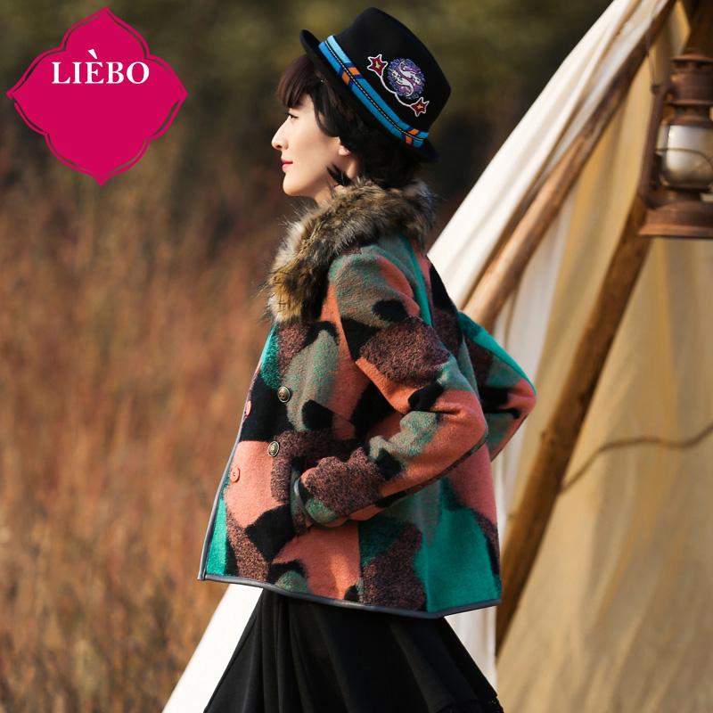 LIEBO 2015 Winter New Arrival Warm Wool Blend Women Designed Fur Collar Detatchable PU Spliced Color Block Short Sectio 91151431Одежда и ак�е��уары<br><br><br>Aliexpress