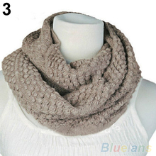 Women Girl Winter Warm Infinity Wrap 2 Circle Shawl Cable Knit Cowl Neck Long Scarf  1PY7 4O44(China (Mainland))