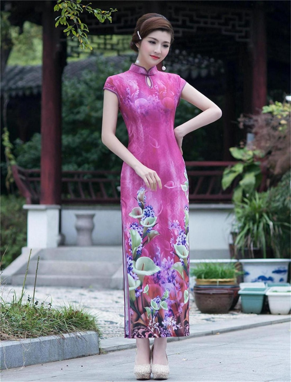 Free shipping Hot Sale Chinese Tradition Style Womens Hot Pink Cotton Long Cheong-sam Qipao Dress S M L XL XXL   YR08Одежда и ак�е��уары<br><br><br>Aliexpress