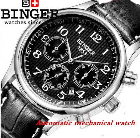 Automatic Mechanical Swiss Original BINGER Fashion Luxury Watches Men Watch Men Sports Military Watch Display Month / day / week(China (Mainland))