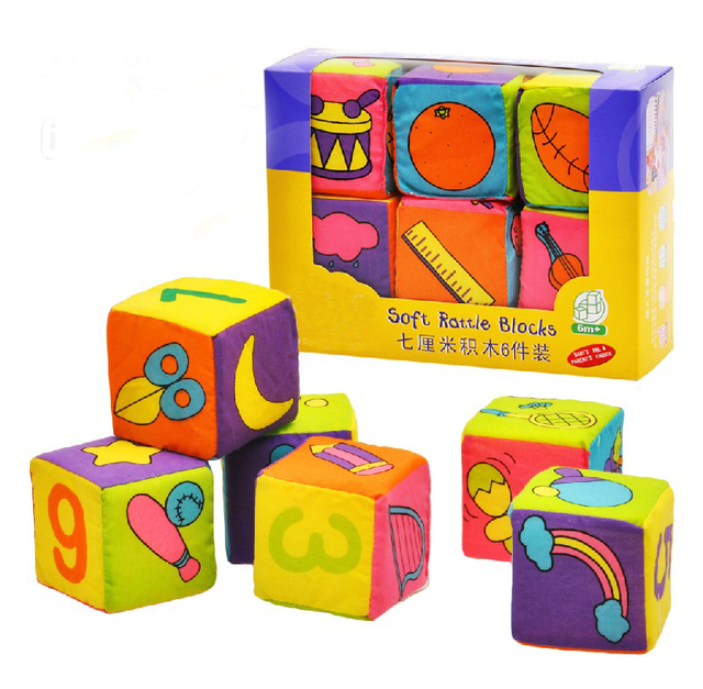 Brand New Soft Fabric Blocks Grab and Stack Bricks Cute Plush Toy Set of 6 Pieces Retail box