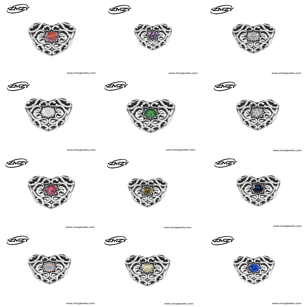 April 925 Sterling Silver Heart Birthstone Charms Beads Fits Pandora Charms Bracelet 12 Month Color Choose(China (Mainland))