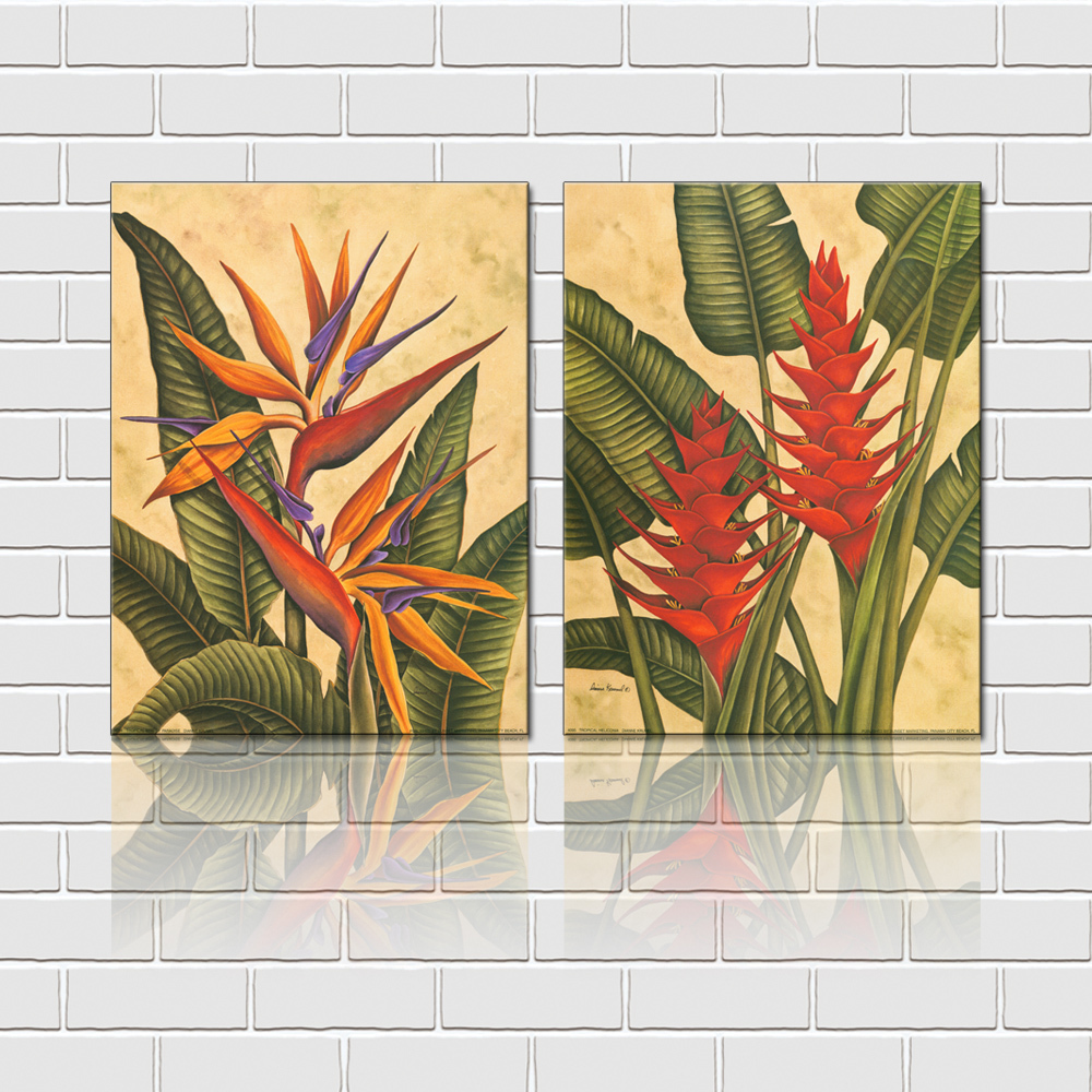 Free shipping 2 pieces wall art set tropical flowers for Decoration goods