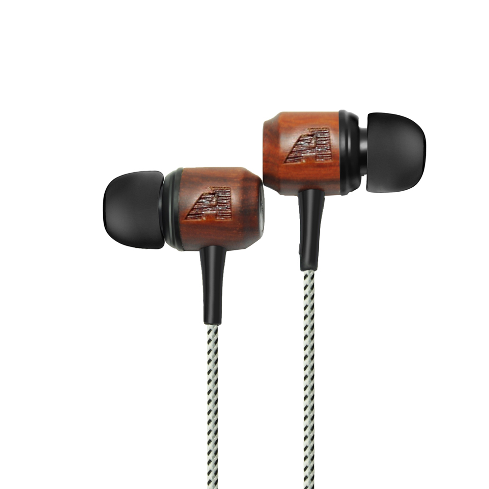 Universal In-ear Earphone for iPhone Sony HTC Android PC Wooden Headset Red Sandalwood Earbuds with Braided Weaved Cable(China (Mainland))
