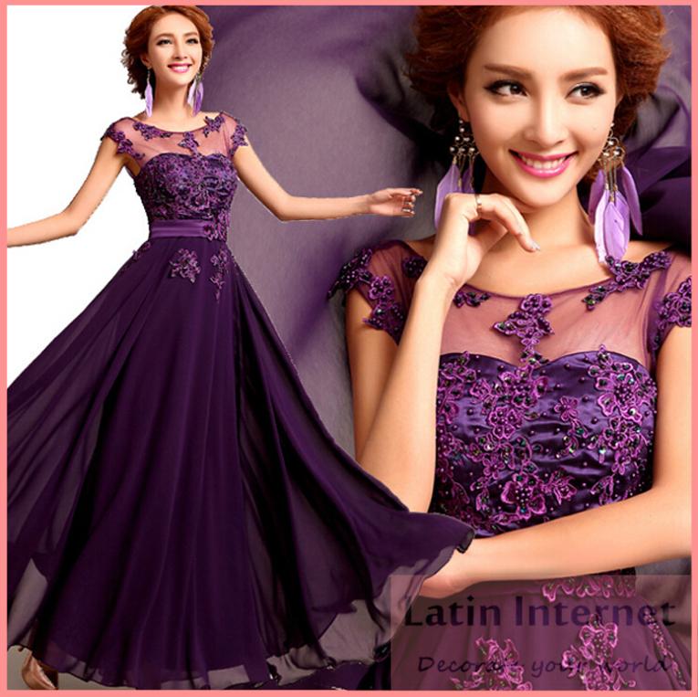 New Floor-Length Chiffon Long Evening Dress Gown Fashion Lace Party Wedding Bride Formal Dresses Vestido De Festa Free Shipping(China (Mainland))