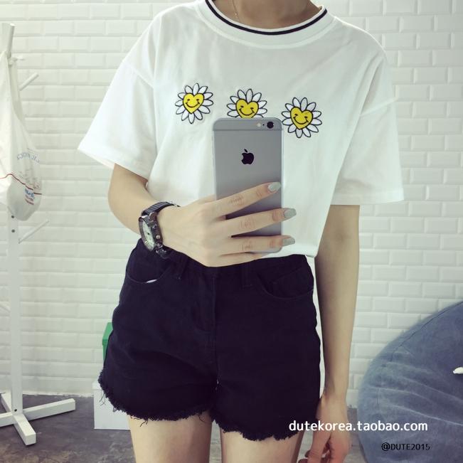 Mihoshop ulzzang Korean Women Fashion Clothing Flower Sunflower Floral Preppy t-shirt t shirt tee Tops B31 Free Shipping(China (Mainland))
