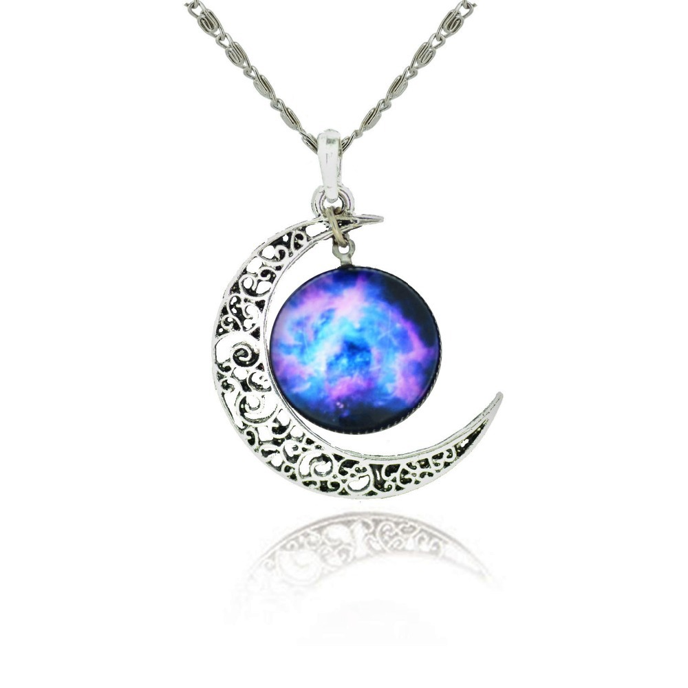 brand fashion jewelry choker necklace glass galaxy lovely
