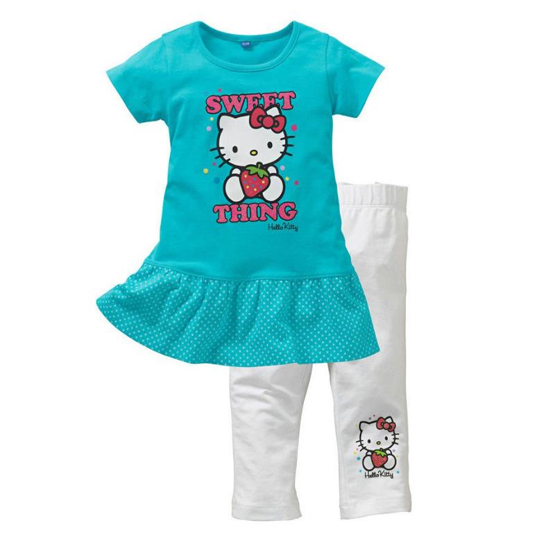 girls kids fashion clothes hello kitty dress +pants 2pcs summer kids clothing suits children girls short sleeve printing dress(China (Mainland))