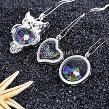 Wholesale Fasion Cute Floating Charms Birthstone Crystal Living Memory Locket Necklace, Costume Jewelry Accessory(China (Mainland))