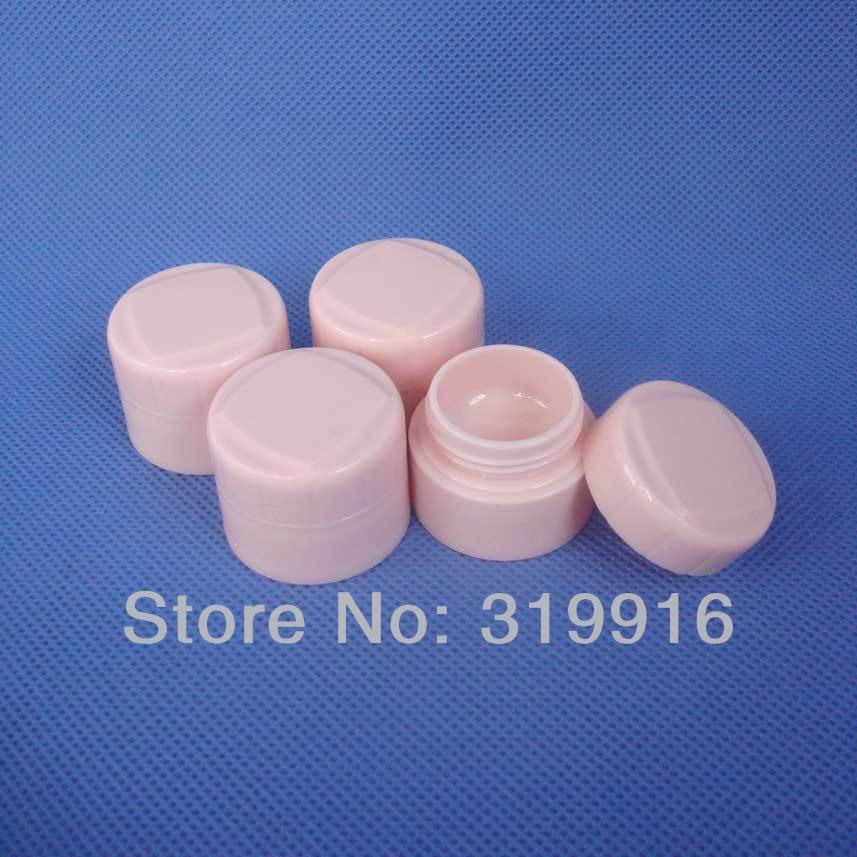 5g X 50 high quality pink double wall round empty cosmetic cream jars bottles containers ,small plastic pot , sample PP tin(China (Mainland))