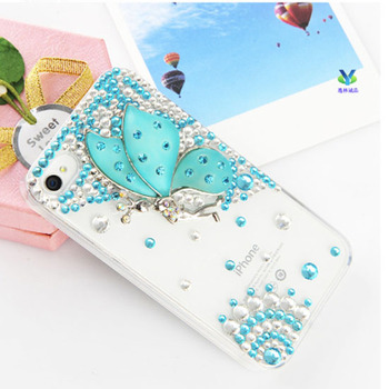 Rhinestone Case For iPhone 5s 5 iphone 4 4s Case Crystal Mobile phone cases Cover for iPhone 5s Case  beautiful butterfly