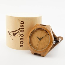 BoBo Bird Brand Bamboo Wristwatch for Men with Genuine Leather Band Japan 2035 Move' Quartz Wood Wristwatches as Gifts