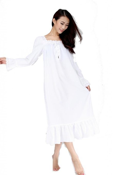 Women Long Sleeve White Vintage Cotton Princess Nightgown Sleepwear Long(China (Mainland))