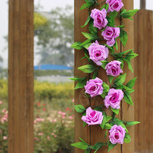 Artificial Silk Rose Flowers and Ivy Leaf Garland Plants