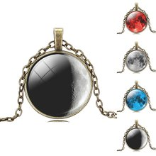 fashion necklaces for women 2014 Full Moon Necklace Glass Photo Necklace, Bronze Glass Cabochon Necklace vintage jewelry