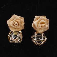 3 Color Yarn Flower Earrings New Fashion Jewelry Earrings Inlay White Crystal Earrings Pendant Charm Jewelry Free Shipping(China (Mainland))