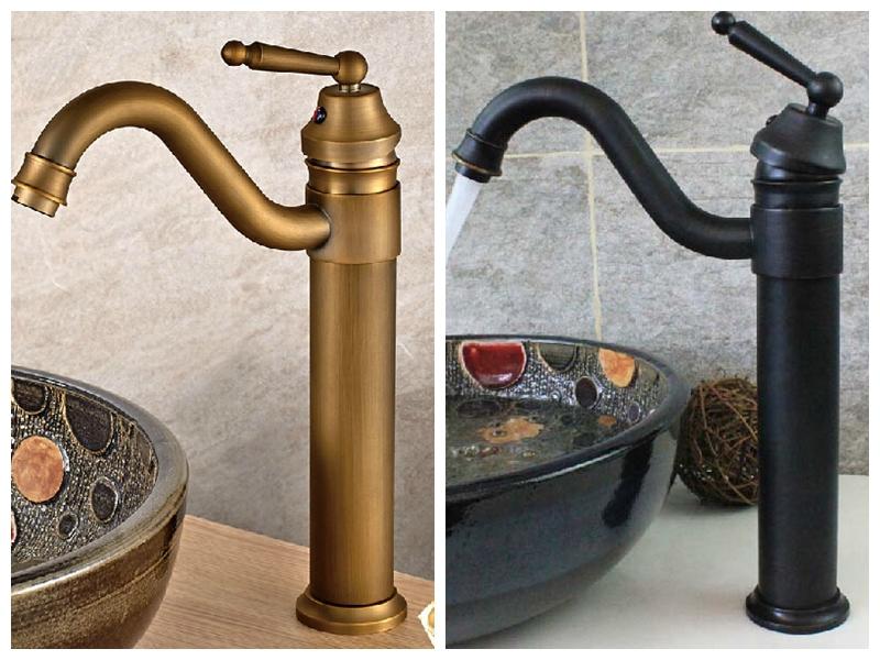 Griferia Para Baño Estilo Antiguo:Estilo Vintage antiguos grifos negros y verde del ejército tall baño