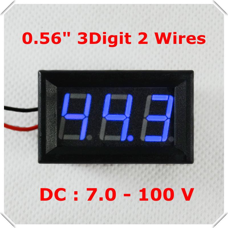 "Digital Voltmeter DC 7-100V 0.56"" Two Wires Electric bicycile car Car voltage Panel Meter LED Display Color: Blue[ 4 pcs / lot](China (Mainland))"