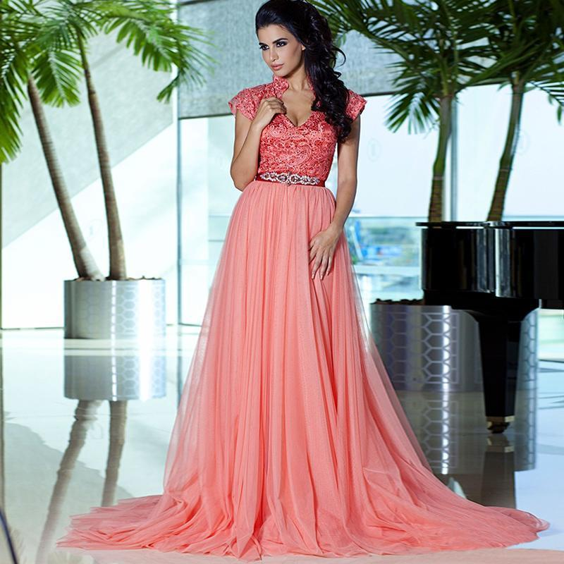 2015 New Arrival Arabic Dubai Kaftan Long Dresses Elegant Sexy V-Neck Lace Beading Crystal A-Line Prom Party Gown(China (Mainland))